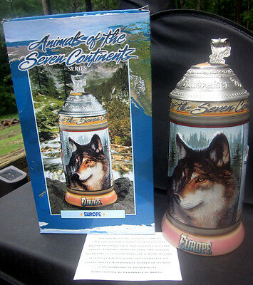 BUDWEISER 2001 Animals of the Seven Continents Lidded Stein CS513 EUROPE 7th of7