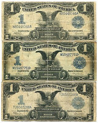 """1899 $1 Silver Certificate """"Black Eagle"""", Lot of 3. Circulated"""
