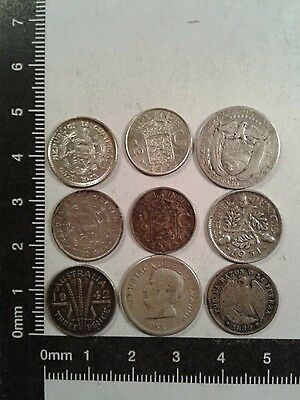 Lot Of 9 Silver Coins World Wide *