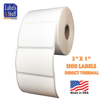 """1 Roll 2x1 (2"""" x 1"""") Direct Thermal Zebra Eltron Labels / 1300 Labels"""