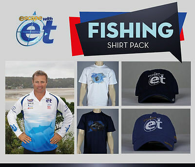 Escape with ET Large Long Sleeve Fishing Shirt + 2 FREE HATS & 2 FREE T-SHIRTS