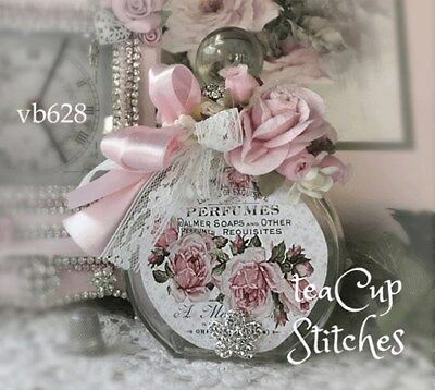 Vintage Style DECORATED PERFUME BOTTLE~Pink Roses~Lace~Shabby Victorian Chic~628