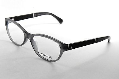 Chanel 3309QA 1510 Eyeglasses Transparent Grey & Black Leather Oval Frame 53 mm