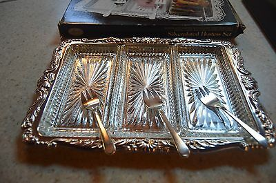 Vintage Leonard Silverplated Tray with Glass Dishes & Serving Forks Hostess Set