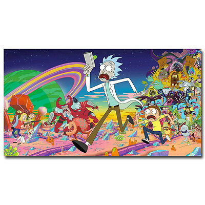Rick and Morty Cartoon Silk Poster Print Home Wall Decoration 16x24inch Gift