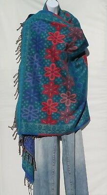 Yak/Sheep Wool|Shawl/Throw/Wrap|Handloomed|Reversal| Flora|Base Color: Turquoise