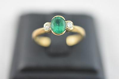 Ring Ladies 9ct Yellow Gold Emerald And Diamond Set Ring