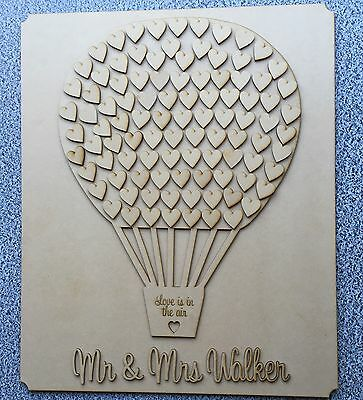 Wooden Wedding Guest Book Alternative Hot Air Balloon With Hearts Raw