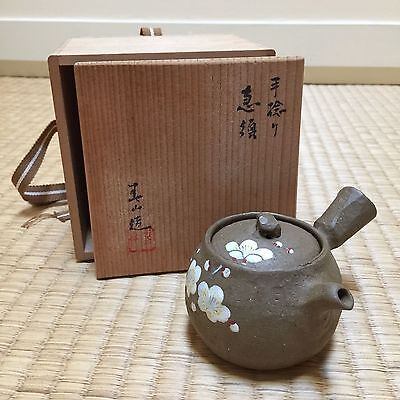 Kyusu Tea Pot Plum Blossom Design - Banko Yaki? - Sencha Tea Ceremony Senchado
