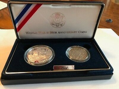 1991-1995 World WAR 2, 50th Anniversary Commemorative Proof Coins  SILVER DOLLAR