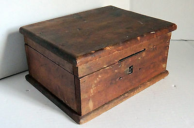 Vintage Wooden Box. Hinged Cover.  Pre-1950.