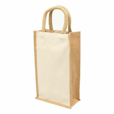Plain Natural Canvas Eco Jute Wine Bag | 2 Bottle Carrier
