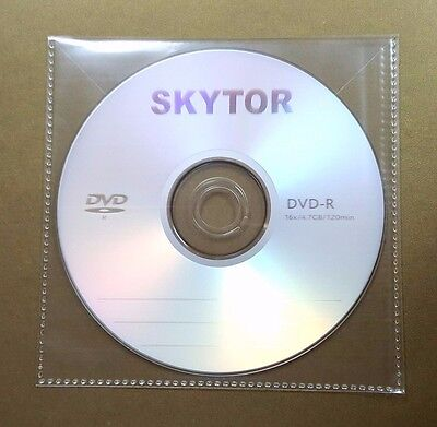 100 CD DVD CPP Clear Plastic Sleeve with Flap, stitching on borders, 100micron