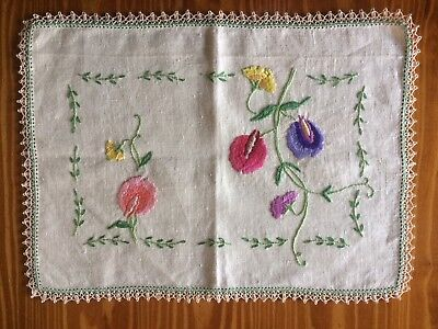 """Vintage """"Sweet Pea"""" Hand Embroidered Doily - 38 cm x 28 cm"""
