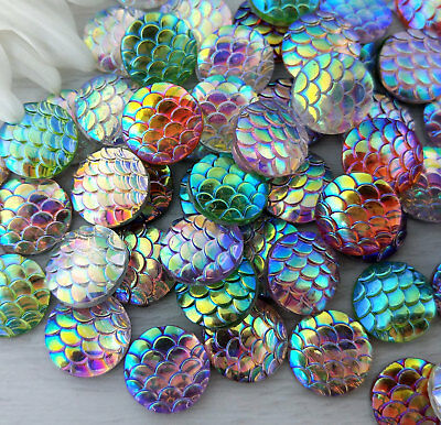 Bulk 100pcs Mixed Colour Scale Cabochons - 12mm Mermaid Cabs for Earrings