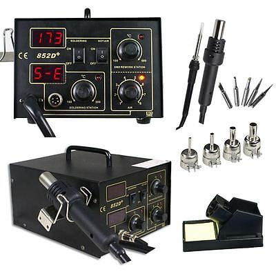 852D+ 2in1 Soldering Rework Station Iron & Hot Air Gun SMD Welder Tool W/ 5 Tips