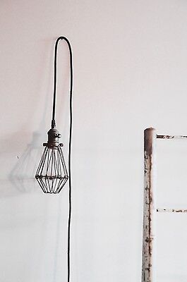 vintage industrial style hanging cage light