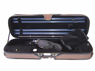 NEW Deluxe 4/4 brown/black rectangular violin case many features free postage