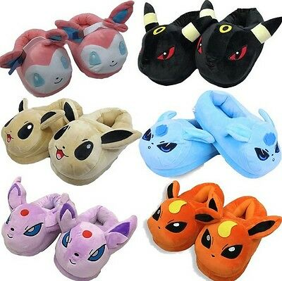 Pokemon GO Kids Soft Plush Slippers Warm Hat Indoor Home Shoes Costume Xmas Gift