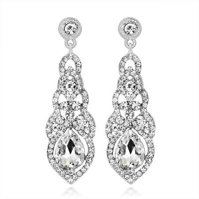 Women Diamante Crystal Leaf Long Dangle Drop Earrings Luxury Bridal Wedding Gift