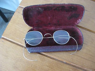 Antique Wrap Around Gold Coloured Spectacles With Red Velvet Lined Case