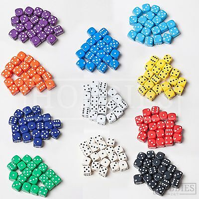 Dice 14mm Six Sided Board Games Set RPG Wargame D6 White Black Blue Red Packs
