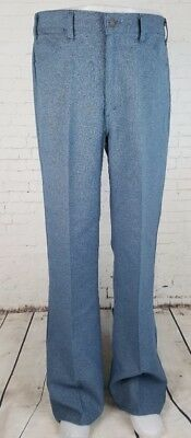 Vtg 1970s Levi's Blue Poly Sta Prest Bootcut Flare Trousers Mod Disco W36 EF64