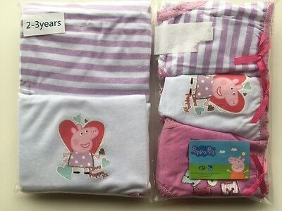 Peppa Pig Girls Pack Set of 2 Vests 3 Knickers Briefs Pants 2 3 4 5 Years White
