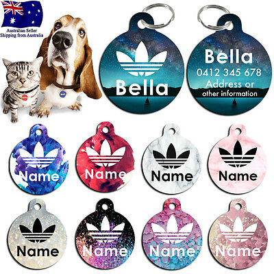 Metal Personalized Pet cat dog Tag Stripes Key ring Name Tags addidas marble