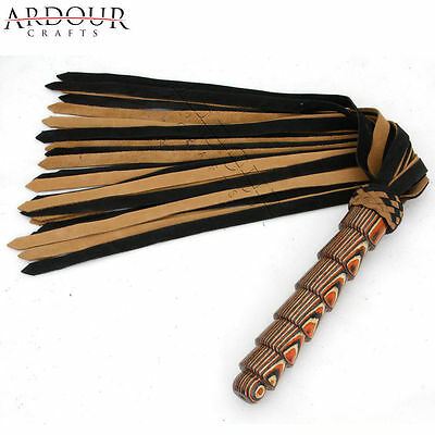 Genuine Real Nubuck Thick Leather Flogger 25 Tails Laminated Carved Wood Handle
