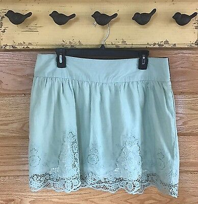 Ladies Maurices Size Large Lined Lace Skirt Elastic Waist Sage Green
