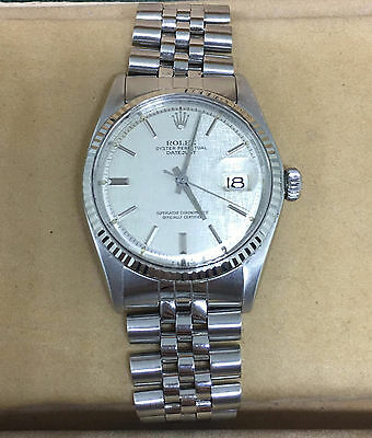 Rolex Datejust Rare Silver Texture Dial Ref.1601 Vintage 1975 36mm