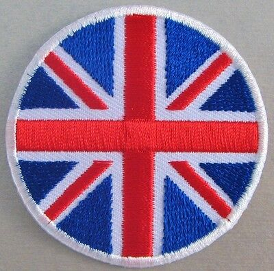 Ecusson Patche Thermocollant United Kingdom Angleterre Union Jack Rond 7,3 Cm