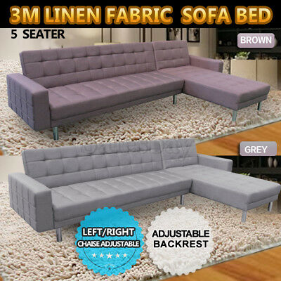 3M Linen Fabric 4 Seater Sofa Bed Modular Recliner Corner Futon Lounge Couch