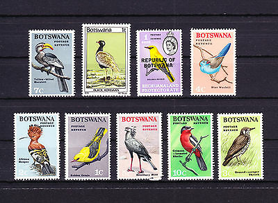 Botswana Mixed condition small collection nine Bird Birds Stamps Unused Hinged