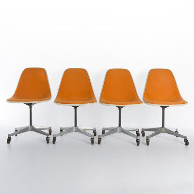 Vintage Herman Miller Original Eames Orange Upholstered Chairs On Contract Bases