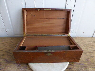 Antique mahogany writing box slope with drawer
