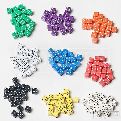 Dice Six Sided 7mm Board Game RPG Wargame D6 White Black Blue Red 20 50 100 Pack