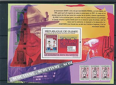 [BIN13556] Guinea 2009 Scouting - Stamp on stamp Good sheet very fine MNH