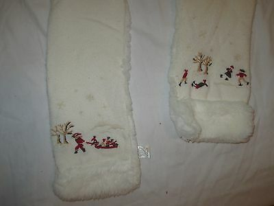 Janie & Jack Precious Holiday Scarf Girls 4T And Up Winter Scene Skate Sled Faux