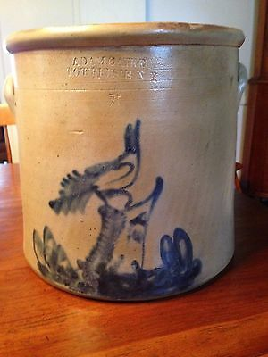 4-Gallon Stoneware Crock Cobalt Bird-on-Stump Decoration ADAMCAIRE POKEEPSIE N.Y