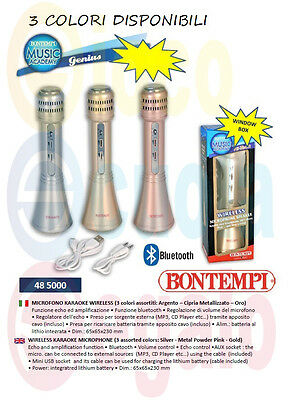 Microfono Karaoke Senza Fili Ricaricabile Wireless Bluetooth Bontempi