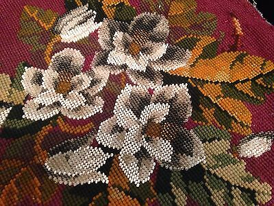 Antique Victorian Hand Embroidered Beadwork Beaded FLORAL Round Panel