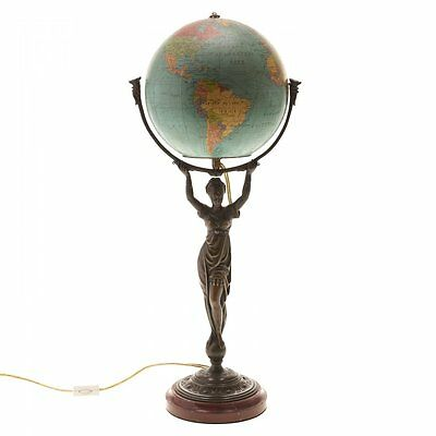 Rare French Art Nouveau bronze neoclassical lady terrestrial globe lamp 1910