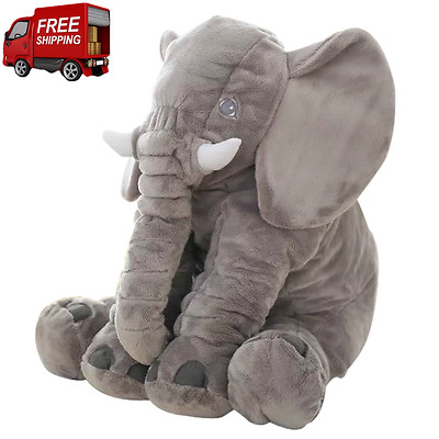 Large Plush Elephant Pillow Stuffed Doll Toy Kids Baby Soft Lumber Cushion Gift
