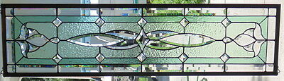 Stained Glass Transom  window hanging 47 X 12 1/4
