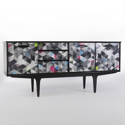 Black Upcycled Vintage Mid Century Jentique Storage Sideboard Cabinet Credenza