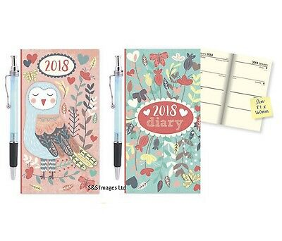 2018 Slim Long Size Diary with Pen Week To View Owls Designs Soft Case Hardback