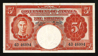 JAMAICA 5 SHILLINGS 15 JUNE 1950 aXF P-37a WITH LITTLE STAIN , KING GEORGE VI