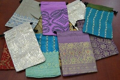 """12 PCS HANDMADE DRAWSTRING JEWELRY GIFT POUCHES BAGS 4"""" x 6"""" #8022"""